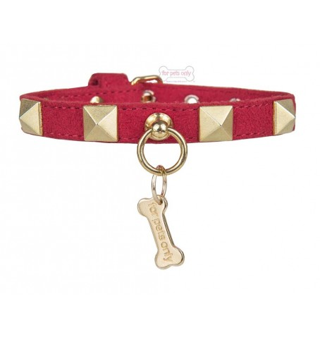 Chic And Stud Collar Rosso-Oro