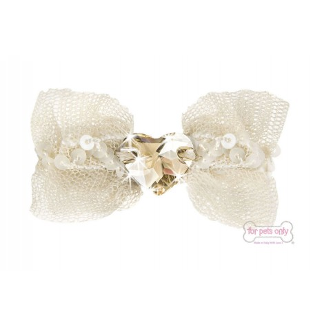 Bow Cream Heart  Hairclip